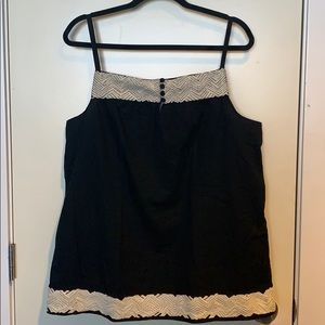 Black GAP Tanktop with White Embroidery Detail